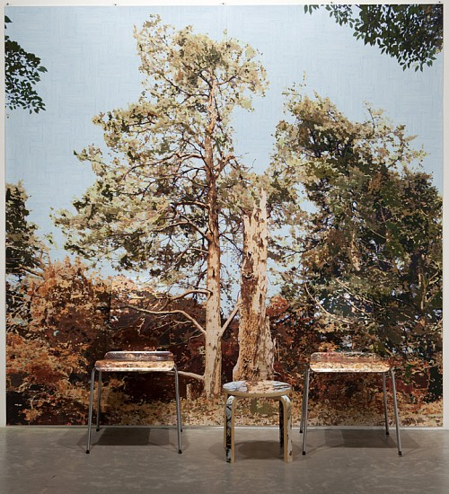 Gary Carsley ,   D.100/b A Tree Struck by Lightening (Wave Hill)  ,  2012     Lambda monoprint diptych, IKEA Gilbert chairs and FROSTA stool ,  93 x 93 inches (236 x 236 cm)