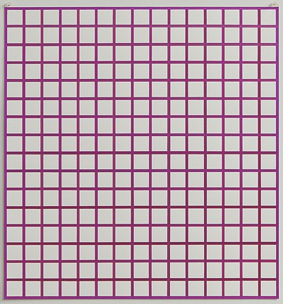 Winston Roeth ,   Untitled (Violet Grid)  ,  2012     Pigments on paper, Kremer pigments and polyurethance dispersion on dibond panels ,  32 x 30 inches (82 x 77 cm)