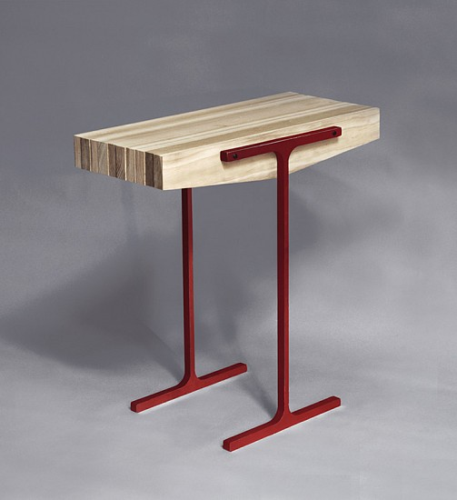 Evan Stoller ,   Light Beam Side Table  ,  2012     Oak and steel beams ,  25 x 24 x 12 inches (63.5 x 61 x 30.5 cm)