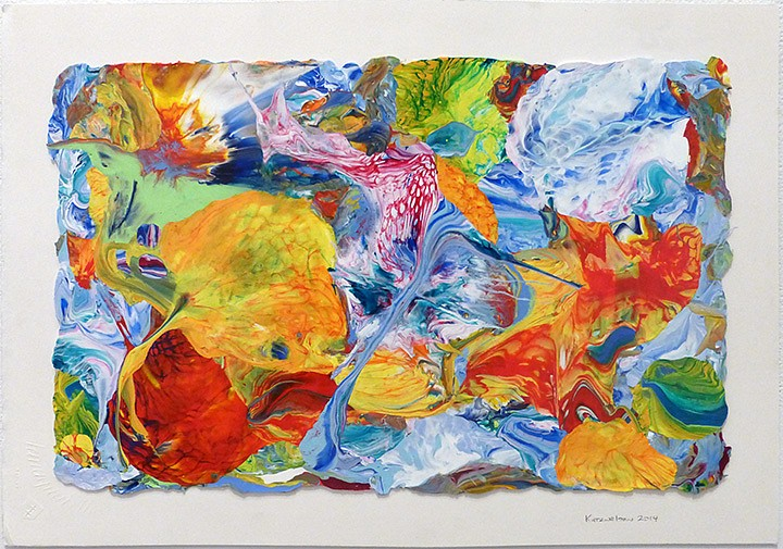 Vadim Katznelson ,   Untitled  ,  2014     Acrylic paint on Lanaquarelle paper ,  12 x 17.75 inches (30.5 x 45 cm)     (b)