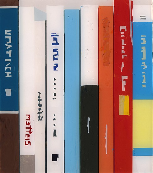 Maria Park ,   Bookcase 4  ,  2014     Acrylic on Plexiglas on wall mounted shelving ,  7 x 6.5 inches (18 x 16 cm)