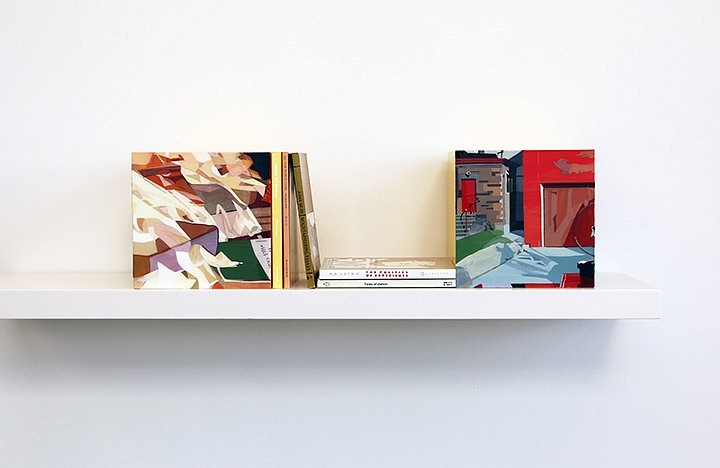 Maria Park ,   Bookends Set 4  ,  2014     Acrylic on plexiglas cubes and 5 books on shelf, Books: Chris Kraus, Where Art Belongs, Semiotexte (2011); John Muir, All the World Over, Sierra Club (1996); John Muir, Mountaineering Essays, Peregrine Smith Books (1984); Joseph Conrad, ,  Tales of Unrest, Penguin Modern Classics (1977); R.D. Liang, The Politics of Experience, Pantheon (1967), Cubes: 7 x 7 x 7 inches each (17.75 x 17.75 cm) Shelf: 1.5 x 36 x 8 inches (4 x 91 x 20 cm)