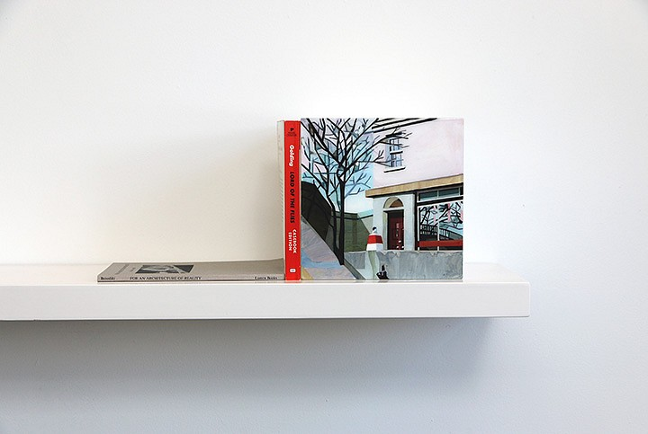 Maria Park ,   Bookend Set 6  ,  2014     Acrylic on plexiglas cube and 2 books on shelf, Books: Michael Benedikt, For an Architecture of Reality, Lumen Books (1987); William Golding, Lord of the Flies, Perigee (1983) ,  Cube: 7 x 7 x 7 inches (17.75 x 17.75 cm); Shelf: 1.5 x 24 x 8 inches (4 x 61 x 20 cm)