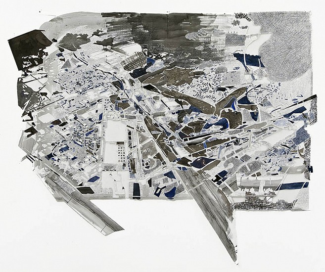 Fran Siegel, Overland 10 2010, Ink, pigment and graphite on embossed, cut and collaged papers