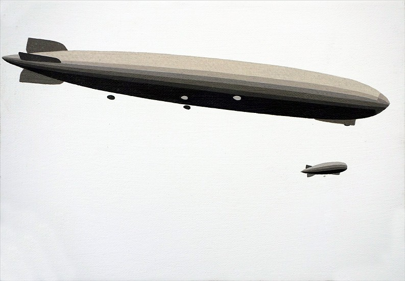 William Steiger ,   Two Airships  ,  2015     Oil on linen ,  7 x 10 inches (18 x 25 cm)