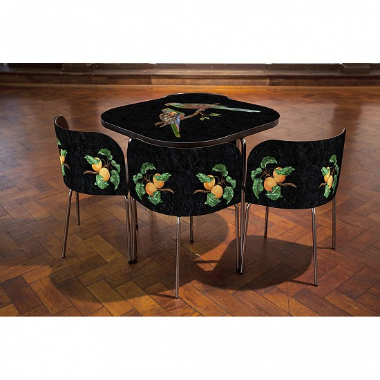 Gary Carsley ,   Pietre Dure; FUSION Table and Chairs, The Paradise Parrot.  ,  2015     Lambda monoprint, resin, Ikea FUSION table and chairs ,  30 x 35.5 x 35.5 inches (76 x 90 x 90 cm)