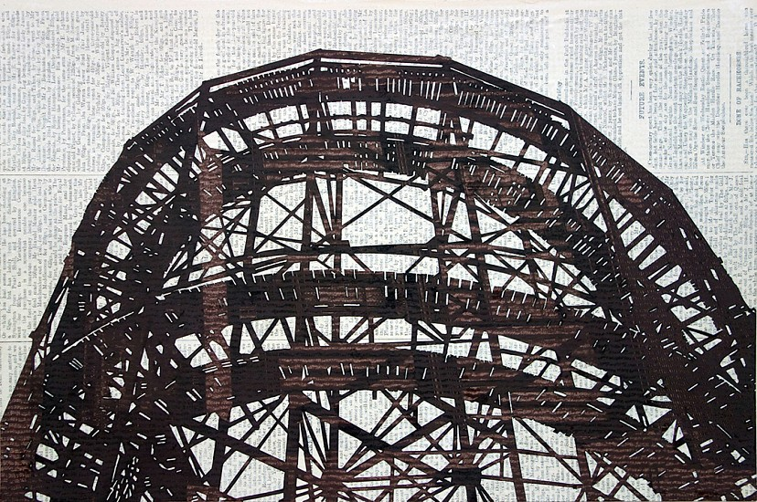 William Steiger, Cyclone Rollercoaster #2 2016, Collage with gouache, glue and found paper, on paper