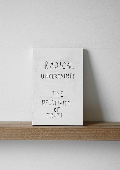 Ruth Greene, Radical Uncertainty: The Relativity of Truth 2017, Gesso on plywood with black acrylic artists ink