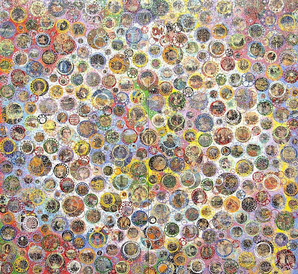 Nobu Fukui, Mythic 2017, Beads and mixed media on canvas over panel