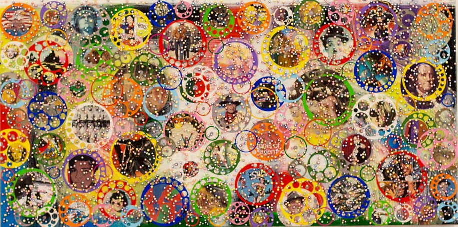 Nobu Fukui, GINZA 2016, Beads and mixed media on canvas over panel