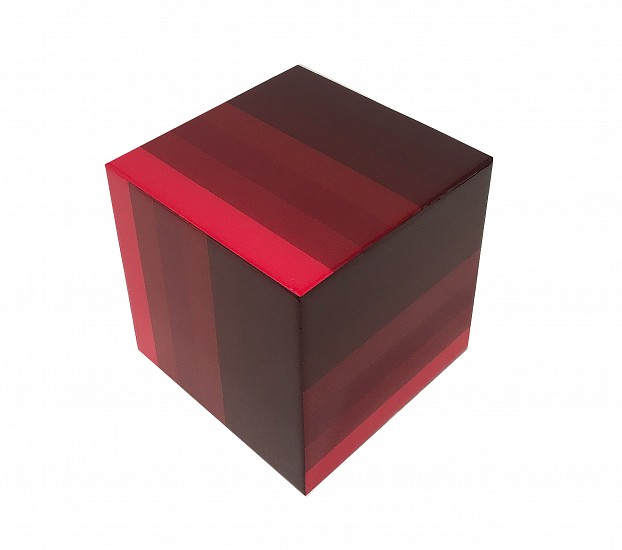 Heidi Spector, Red Cube 2018, Liquitex with resin on birch cube