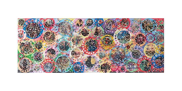 Nobu Fukui ,   Wriggle To Life  ,  2018     Beads and mixed media on canvas over panel     32 x 12 x 2 inches (81 x 30 x 5 cm)