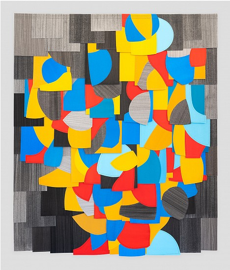 Raymond Saá ,   Untitled (PS 201902)  ,  2019     Gouache and charcoal collage on sewn paper ,  Framed, 40.75 x 34.75 in (102 x 88 cm)