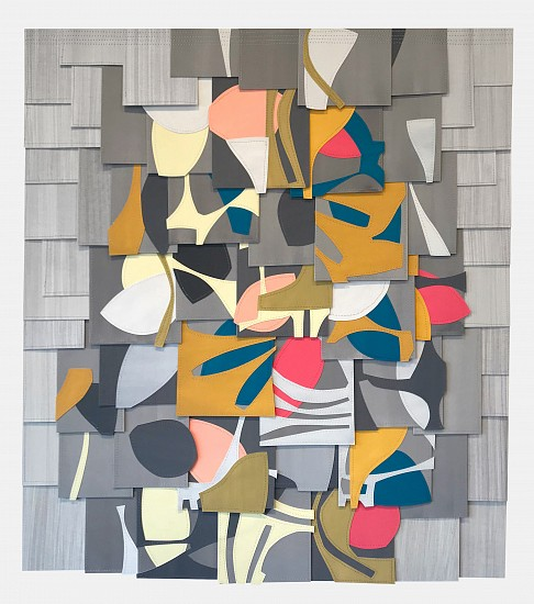 Raymond Saá ,   PS201909  ,  2019     Gouache collage on sewn paper ,  37.5 x 33.5 in (95 x 85 cm), framed