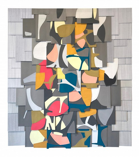 Raymond Saá ,   PS201908  ,  2019     Gouache collage on sewn paper ,  37.5 x 33.5 in (95 x 85 cm), framed