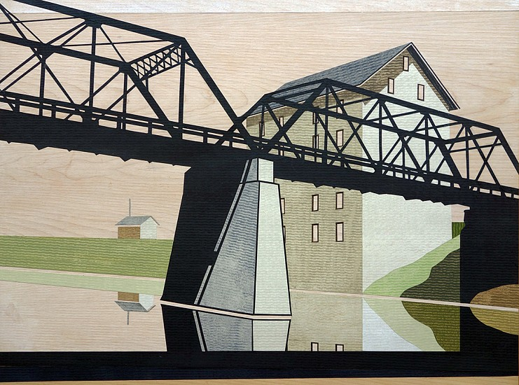 William Steiger ,   Bridge Mill River  ,  2020     Collage of cut found paper, vintage map, gouache, glue, mounted on panel ,  18 x 24 inches (45.72 x 60.96 cm)