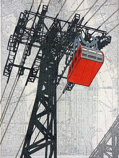 William Steiger ,   Roosevelt Island Tram  ,  2020     Collage of cut found paper, vintage map, gouache, glue, mounted on panel ,  12 x 9 inches (30.48 x 22.86 cm)