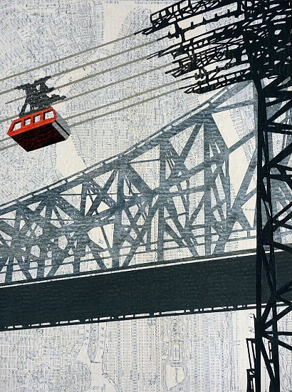 William Steiger ,   Roosevelt Island Tram/Bridge  ,  2020     Collage of cut found paper, vintage map, gouache, glue, mounted on panel ,  12 x 9 inches (30.48 x 22.86 cm)