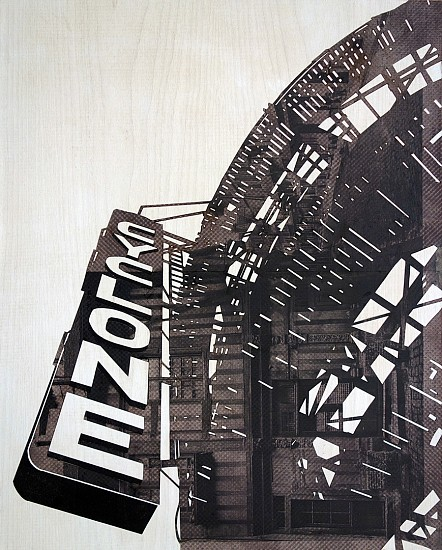 William Steiger ,   Cyclone  ,  2020     Collage of cut and found paper, wood, gouache and glue mounted on panel ,  20 x 16 inches