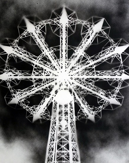 William Steiger ,   Parachute Jump (ink)  ,  2020     Ink on paper mounted on panel ,  20 x 16 inches