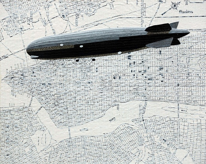 William Steiger ,   Dirigible Manhattan  ,  2020     Collage of cut paper, vintage maps, gouache and glue mounted on panel ,  8 x 10 inches